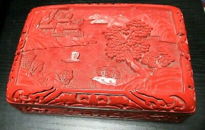 """Rare Chinese Carved Landscape Cinnabar Lacquer Enamel Humidor Box 6"""" X 4"""" X 2"""""""