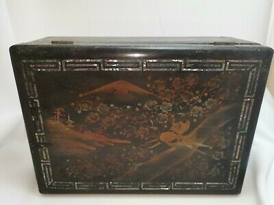 Vintage C late 19th Century Japanese Wooden Box Mother Of Pearl Inlaid oriental