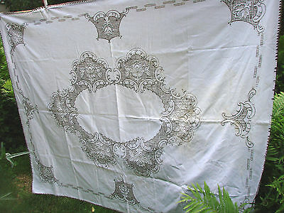 Vintage Tablecloth  Embroidered Floral 57x74 Madeira Cotton