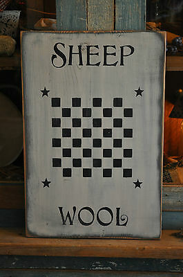 Vintage Looking White Wood Sign Sheep Wool Game Board Farmhouse Primitive Decor