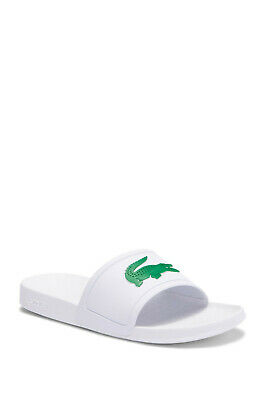 c720fe286 Lacoste Fraisier 318 Slides White Green Big Gator Sandals Mens 10 New