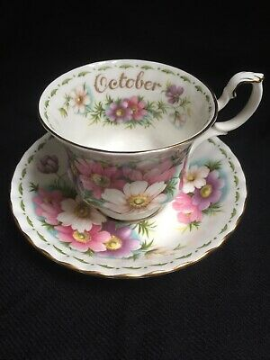 Royal Albert Cosmos Tea Cup + Saucer Flower of the Month Series October Pristine