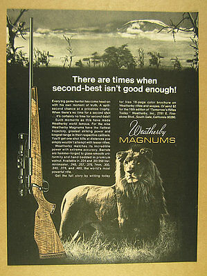 1970 Weatherby Magnum Rifles african lion photo vintage print Ad