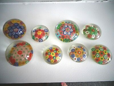 LOT 8 Old Chinese Art Glass Paperweights Complex Millefiori Cane China