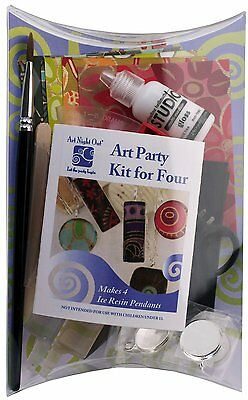 Art Night Out Party Kit for 4 People Makes 4 Circle Resin Pendants in Silver Pla