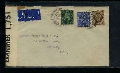 Great  Britain  3 perfin stamps on censor cover           MS0208