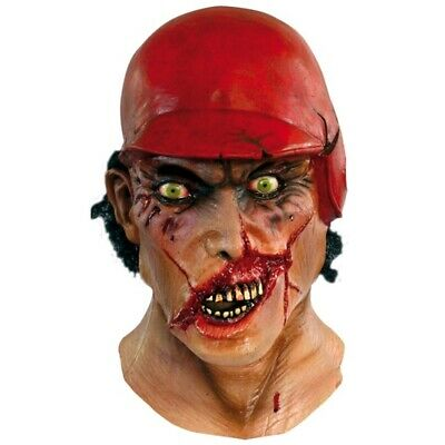 Major League Zombie Halloween Maske - Rubber Mask Head Baseball Neck Fancy