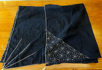 An early 20th c beautiful Sashiko Furoshiki Indigo Japanese Embroidered Textile
