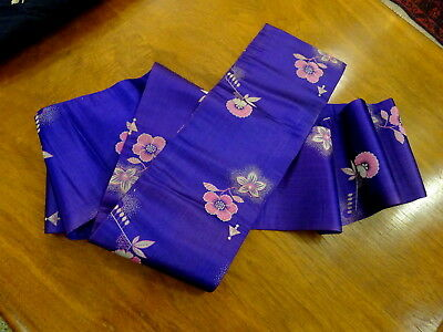 A Fine Vintage Purple Silk with flowers Japanese Obi