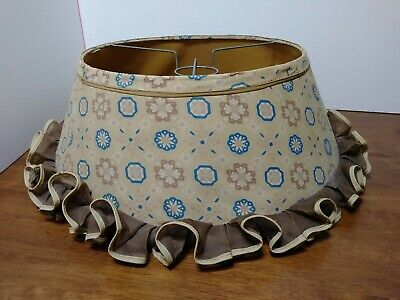 Vintage Chic Early American Fabric Fringed Lampshade Mid Century