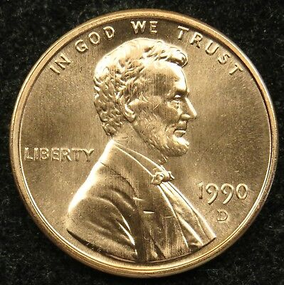 1990 D Uncirculated Lincoln Memorial Cent Penny BU (B05)
