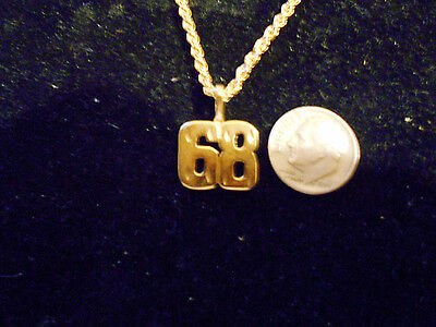 bling gold plated sports race team ball game number 68 pendant charm necklace gp