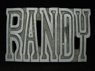 OC19128 VINTAGE 1970s CUT-OUT **RANDY** NAME PEWTER BELT BUCKLE