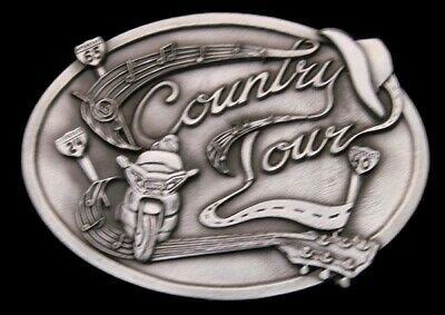 Oa26139 *Nos* Vintage 1991 ***Country Music Tour '91*** Pewter Buckle