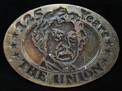 OC03117 VINTAGE 1970s **125 YEARS THE UNION** BRASSTONE BELT BUCKLE