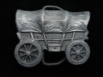 QJ15119 VINTAGE 1970s CUT-OUT **COVERED WAGON** OLD WEST BELT BUCKLE