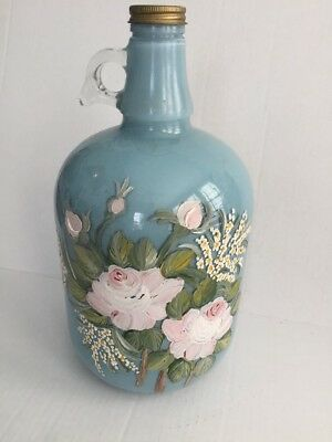 Vintage Glass Gallon Jug Floral Hand Painted Art Duraglas