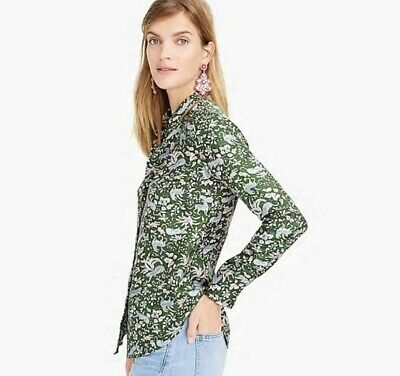 23cab41dc62 J Crew Blouse Size 2 Collection silk twill button-up in jungle cat print,