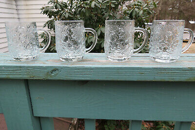 Princess House Fantasia Crystal Coffee Hot Cocoa Mugs Set of Four ( 4 )