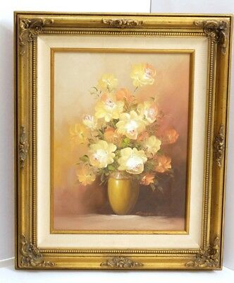Robert Cox Signed Yellow & Orange Roses Original Oil Painting Gilded Wood Frame