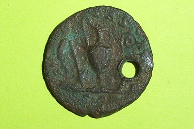 Huge Pendant COMMODUS 166 AD ancient ROMAN COIN sacrificial tools lituus g rare