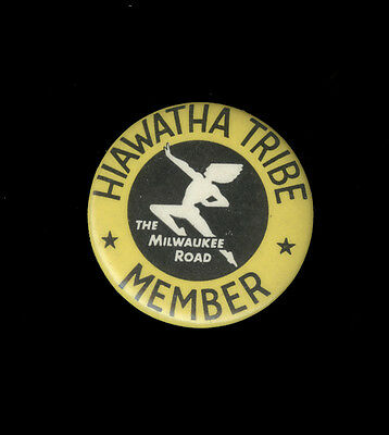 Vintage Celluloid Pinback Hiawatha Tribe Member The Milwaukee Road Railroad