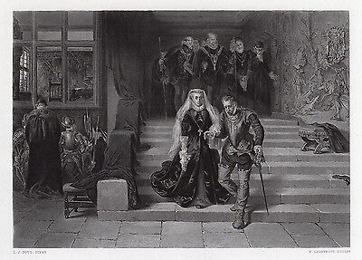 """1800s Laslett John Pott Engraving """"Queen Mary Led to her Execution"""" SIGNED COA"""