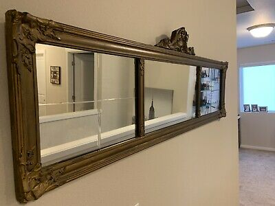 Gold Victorian 1880s 3 Panel Mantel Mirror