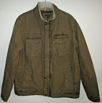 NWOT Men's Size  Levi Strauss Cargo Dark Khaki Coat Zip Up Size-XL R1
