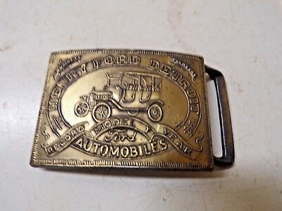 Old Brass Belt Buckle Henry Ford Model T Automobiles