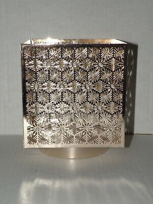 Bath And Body Works Rose Gold Large Square Snowflake & Pearl Candle Holder Nip