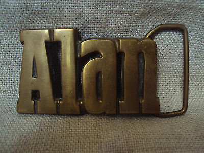 Vintage NOS Solid  Brass Taiwan Name Belt Buckle Alan