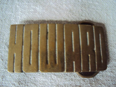 Vintage NOS Solid  Brass Taiwan Name Belt Buckle Howard