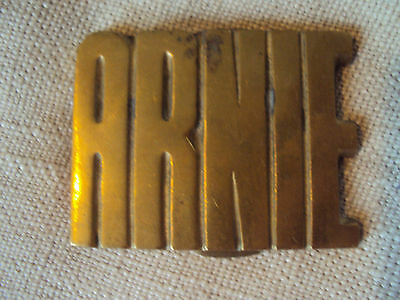 Vintage NOS Solid  Brass Taiwan Name Belt Buckle Arnie