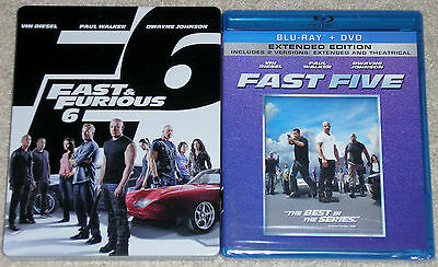 Action Blu-ray + DVD Lot - Fast Five (New) Fast & Furious 6 w/ Steelbook (Used)