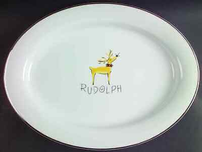 "Pottery Barn REINDEER Rudolph 16 7/8"" Oval Serving Platter 3740354"