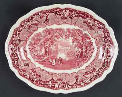 "Mason's VISTA PINK 11 1/4"" Gadroon Edge Oval Serving Platter 4322810"