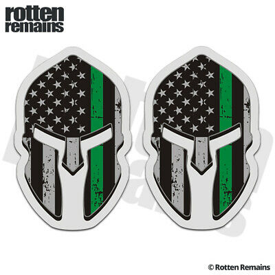 e73476a3459f Thin Green Line American Subdued Flag Spartan Helmet Decal SET Sticker EVM