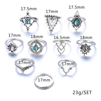 7Pcs Bohemian Retro Carved Crystal Ring Rhinestone Gemstone Hollow Kunckle LD
