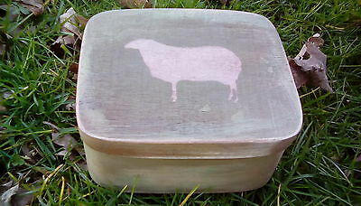Primitive Wooden Nesting Box Destressed Green with an Old Sheep Folk Art Decor