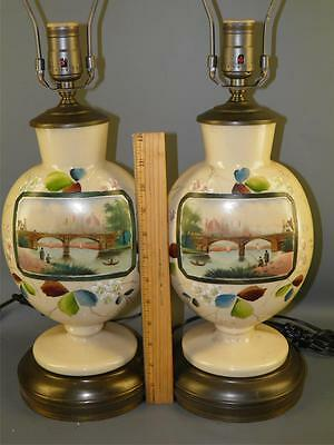 Antique Pr. Hand Blown Opaline Bristol Glass Hand Painted Europian Scene Lamps