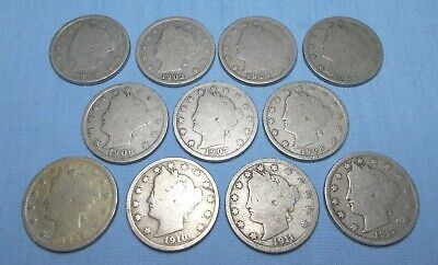 Liberty Head Nickel 11 Coin Lot 1902 to 1912 Composition Copper/Nickel (Lot B)