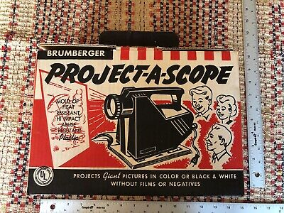 Antique Brumberger 1950s Project-A-Scope Image Projector with Box & Instructions