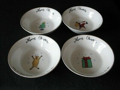4 Merry Brite Christmas Soup Salad Cereal Bowls Reindeer Tree Santa 2 sets avail