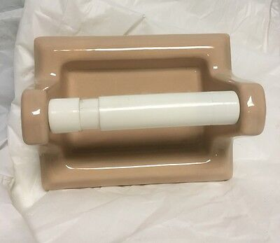New Old Stock Mid Century Porcelain Toilet Paper Holder PEACH  1950's
