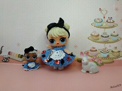 Alice in Wonderland-knitted dress for LOL surprise doll and LIL sisters