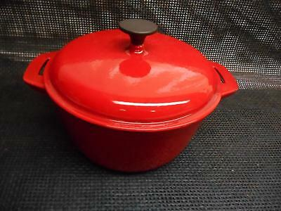 "Old Vtg BELLA CAST IRON ENAMELWARE Red POT w/ LID Pan 10"" Cookware Kitchenware"