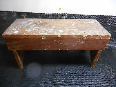 Antique Primitive Wood Garden BENCH Seat Milking Stool Old Vtg Wooden