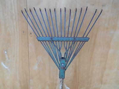 Antique Primitive Metal RAKE Wood Handle 16 Tine Old Vtg Garden Farm Tool Decor