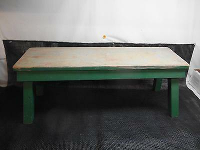 Antique Primitive Wood Garden BENCH Seat Milking Stool GREEN Old Vtg Wooden